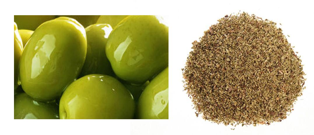 Grüne Oliven mit Oregano