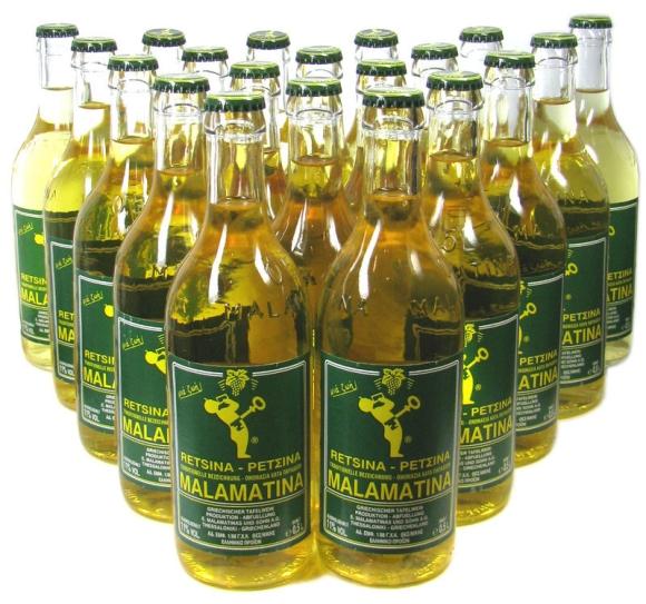 Retsina Malamatina bottles