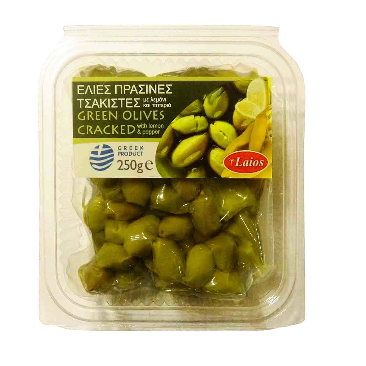 Green Olives Cracked With Lemon Peppers In Vacuum Without Added Edamame 500gr Salt 250gr Laios No Preservatives